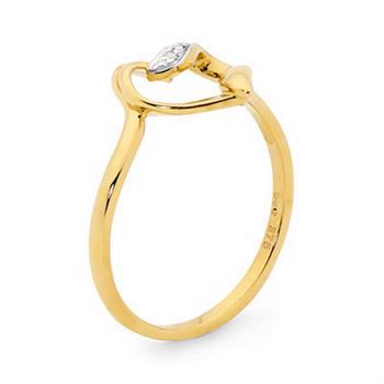 9 ct. Yellow gold Heart love ring