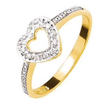 Gold Diamond set Sweetheart Ring