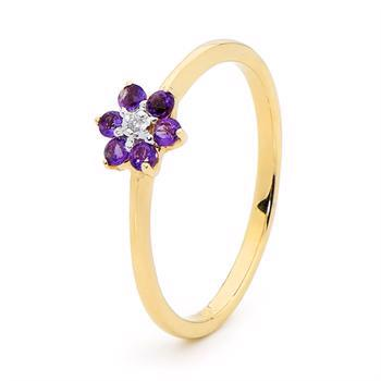 Amethyst Petal flower Ring with Diamond