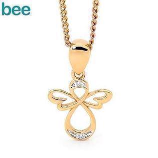 Angel gullkjede fra Bee Jewelry med to diamanter