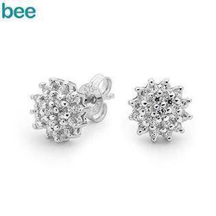 Elegant Silver Dress Earrings with Cubic Zirconia