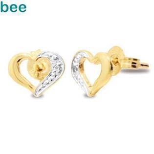 9 ct heart gold earstuds w / 2 x 0.005 ct diamonds