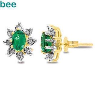 9 ct gold emerald cluster earrings
