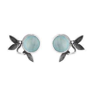 Rabinivich 51316553, Silver earrings with pendant with aqua calcedon and zirkonia