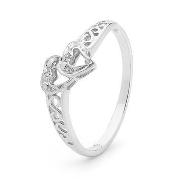 Two Love hearts 9 ct white gold ring with Diamonds