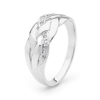 White Gold Celtic Plait Ring with Diamonds