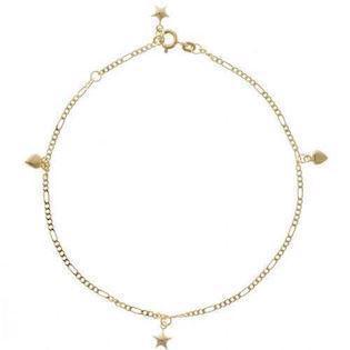 Lund Marguerite gilded silver ankle chain with 3 flowers