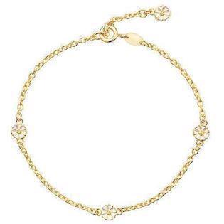 Lund Copenhagen micro Daisy Bracelet White with goldplpating, 17 ½ cm