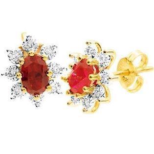 9 ct gold ruby cluster earrings