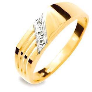 Diamond set flat top men's ring in 9 ct gold