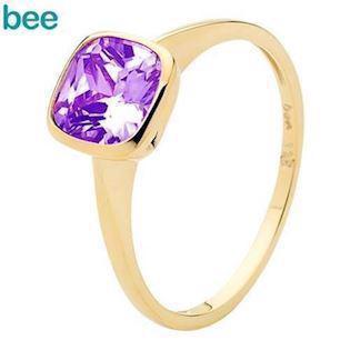 Cushion Cut Amethyst Solitaire gold ring