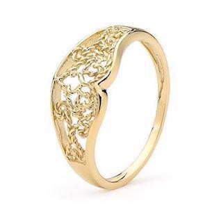 9 ct Gold Filigree Ring with Heart