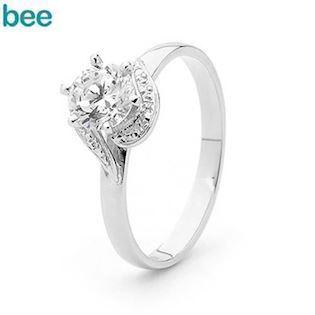 Terrific One Carat look CZ Solitaire Whitegold Ring