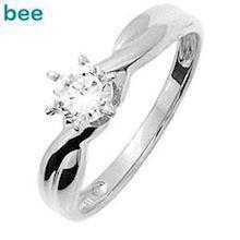 Cubic Zirconia solitaire ring in 9 ct. white gold