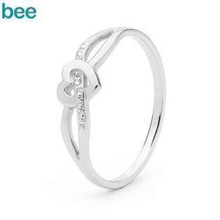 9 ct. white gold Heart love ring