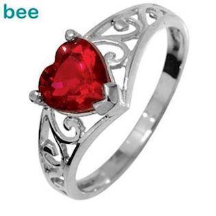 9 ct white Gold Ring with Heart created ruby