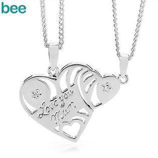 Mother & Daughter break heart pendant with zirconia and chains