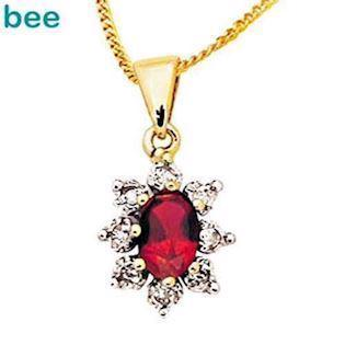 Classic red ruby and diamond pendant
