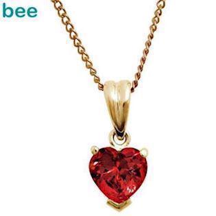 9 ct Gold pendant with heart shaped ruby