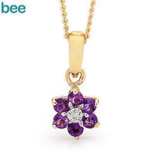 Amethyst flower Pendant with Diamond