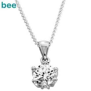 White Gold Zirconia Pendant - One Carat Size